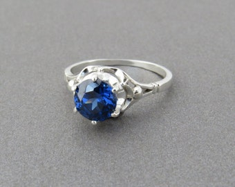 Blue sapphire ring, silver engagement ring, sapphire engagement ring, lab sapphire ring, vintage style ring, dark blue sapphire ring, gift.