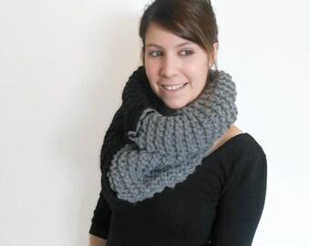 Black and grey, crochet, chunky cowl, color block, chunky scarf, knit, handmade