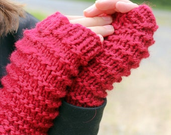 Red Knit Fingerless Gloves,  Kids Fingerless Gloves,  Arm Warmers, Texting Gloves, Handknit Wool Mitts, Handwarmers