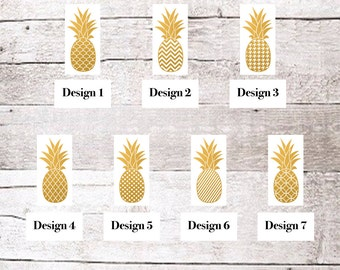 Pineapple Decal, Tumbler Decal, Golden Pineapple, Car Decal, Pineapple Sticker, Custom Decal, Custom Pineapple Decal, Vinyl Pineapple