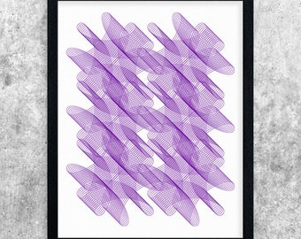 Purple Printable Abstract Art, Modern Art Print, Geometric Wall Art, Digital Download, Home Decor, Contemporary Poster, Minimalist Line Art