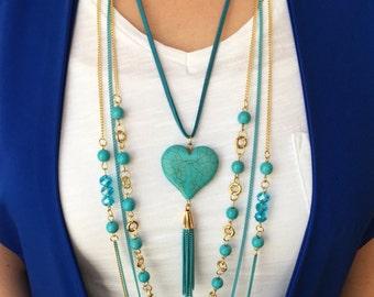 Lanyard Necklace, Multi Strand Necklace, Tassel Necklace, Layered Necklace, Calaite Pendant Necklace, Calaite Pendant, Calaite Stone