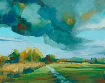 Cloudscapes of Longrun Meadow - contemporary art, archival print, oil painting, landscape painting, semi-abstract art, wall art, interiors