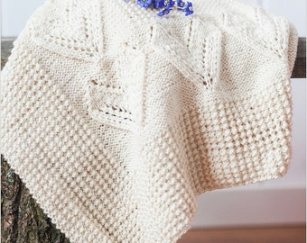HandKnitted blanket: wool, creamy white color, baby blanket / Knitted baby blanket / Girl blanket / Boy blanket