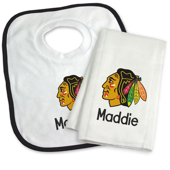 Personalized Chicago Blackhawks Bib & Burp Cloth Gift Set