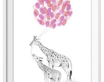 Baby shower art - giraffe print with inks, fingerprint balloon art, custom baby gift, birthday party