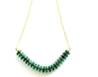 Dainty Turquoise Necklace with 24k Gold Plated Chain