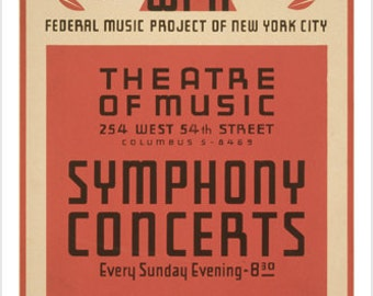 New York City SYMPHONY CONCERTS vintage WPA 1941 poster 24X36 Federal Music Project Sponsor