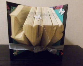 Love folded book art // love gift for her // unique birthday gift // paper anniversary gift // unique 1st anniversary gift idea // love book