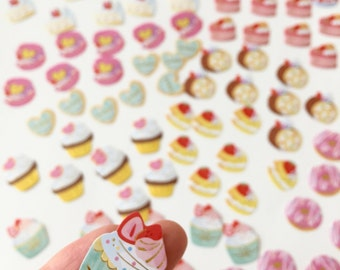 50% OFF CLEARANCE SALE - 80pcs Sweets Flake Stickers - Photo Decoration Stickers (was
