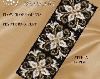 Peyote Pattern for bracelet - Flower ornaments peyote bracelet cuff pattern in PDF instant download