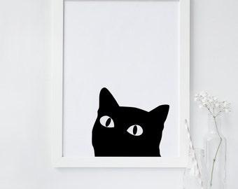 Black Cat wall art, Curious cat art print, Minimalist, Cat wall art, Printable wall art, Scandinavian print, instant download, digital, chic
