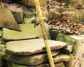 hand carved , hiking staff, w/celtic braid, walking stick