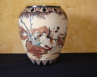 Ciboure Garcia de Diego. Très grand vase grès. Vintage. Pays basque. Poterie. France.