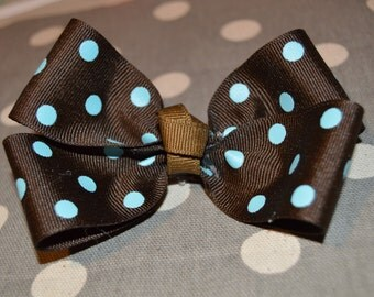 Brown with Baby Blue Polka Dots