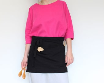 Woman apron, Cafe apron, Waitress apron, Half linen apron, Daily apron