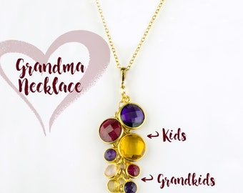 Custom Birthstone Necklace for Grandma, Christmas Gift for Grandmother with grandkids birthstones custom mothers jewelry mom birthday gift