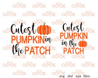 Cutest Pumpkin in the Patch SVG, Halloween SVG, Fall svg, Pumpkin svg cut files for use with Silhouette, Cricut Cutting machines, svg file