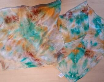 Hand Dyed 100% Pure Silk Scarf - Green, Orange & Brown