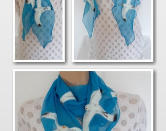 Blue nuno felted triangular neckpiece, original scarf with white birds sea gulls