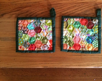 set of 2 handmade, quilted potholders