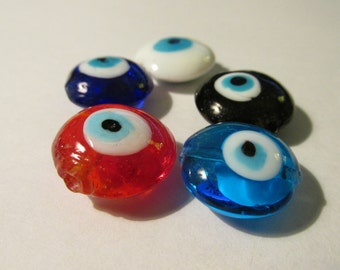 "Round Flat Glass Beads with ""Evil Eye"" Symbol for Protection, 3/4"", Set of 5"