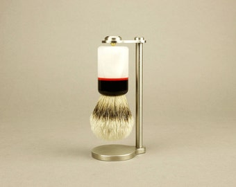 Magnetic Brush Stand & Brush with Acrylic Handle, Magnetic Shaving Stand, Wet Shaving Brush Stand, groomsmen gift, shaving gift