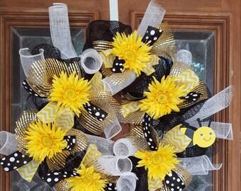 Black & Yellow Daisy Mesh Wreath