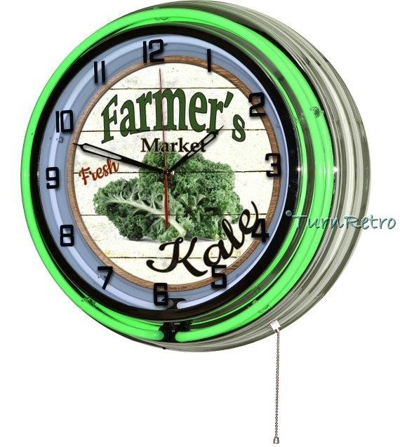 Kale Green Neon Large Wall Clock Kitchen Clocks By Turnretro