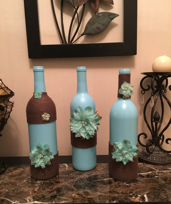 Items similar to set of 3 painted wine bottle w burlap for Wine bottles decorated with flowers