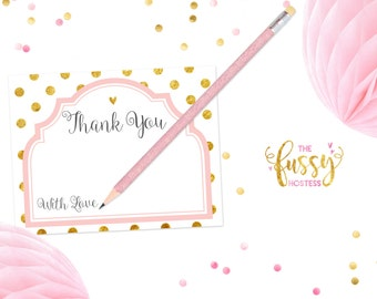 Baby Thank You Cards, Baby Shower Thank You Cards, Baby Shower Thank You Notes, Baby Thank You Notes, Wedding Thank You Cards, Pink and Gold