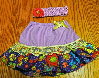 Purple Baby Skirt, Purple Floral Skirt, Spring Skirt Set, Summer Skirt Set, Girls Skirt set, 12 Month and Up,  Fast Shipping
