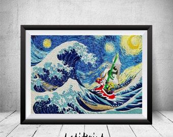 Zelda Starry Night, Zelda Print, The Great Wave Kanagawaa, Zelda Poster, Zelda Art, Zelda Wall Art, Wall Art Decor,  The Legend of Zelda Art