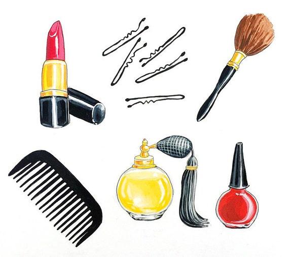 Girly Necessities, Vintage Beauty, Makeup Artist, Lipstick Art, Original Gouache Painting Illustration 11x14