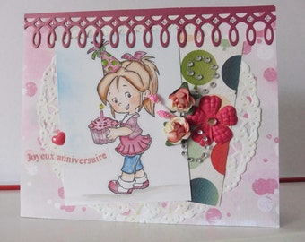 Birthday card - card for girl - Blank double greeting card - Hand colored - Main card color is light purple