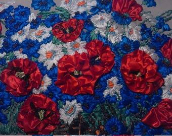 Flowers. Цветы Картина. Picture. Вышивка лентами.