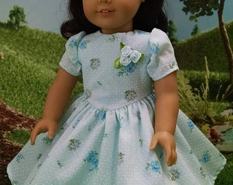 For American Girl Dolls and Other 18 inch dolls! Beautiful Light Blue, Printed Dotted Swiss Frock