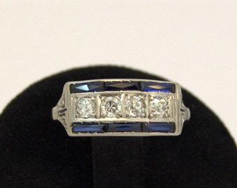 1920s Art Deco Sapphire Diamond Platinum Ring