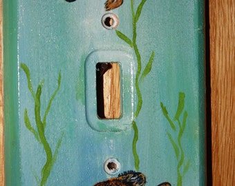 Fish switch cover. Hand painted.