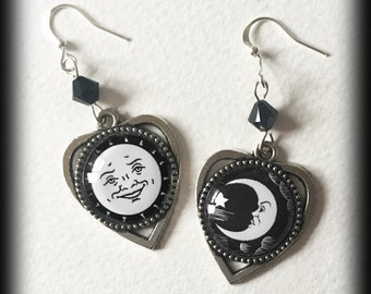 Ouija Board Earrings, Gothic Wicca Jewelry, Ouija Planchette Sun and Moon, Antique Silver, Occult Witch Seance, Black and White, Handmade