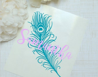 Peacock Feather Monogram Glossy and Glitter Vinyl Decal, Glossy and Glitter Monogram Sticker, Vine Monogram