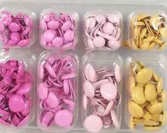 140 colored Brads, shipping brackets for scrapbooking, card making, decoration, ornate (savannah, pink tones)
