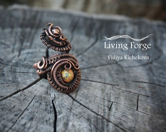 Wire wrap ring, wire ring, wrapped ring, Wire wrap jewelry, Copper ring, Copper jewelry, Adjustable Ring, handmade ring