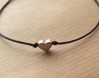 Heart bracelet, friendship bracelet, dainty bracelet, adjustable bracelet, wish bracelet, love bracelet