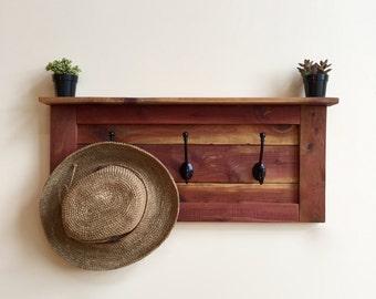 Rustic 3 Hook Coat Rack, Wooden Coat Rack, Entryway Coat Rack, Rustic Furniture, Wall Mounted Coat Rack and Shelf, Floating Shelf