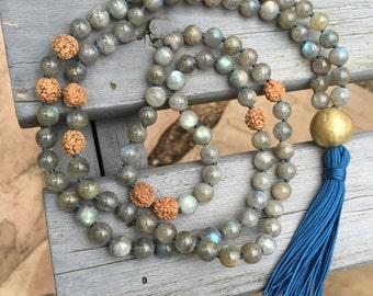 Mala // Labradorite, Rudraksha Seeds, Brass // Hand-knotted 108 beads