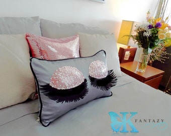 eyelash pillow etsy. Black Bedroom Furniture Sets. Home Design Ideas