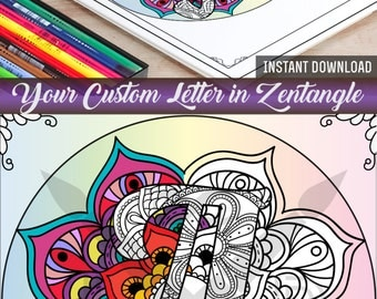 custom letter coloring page adult coloring coloring book printable coloring page zentangle coloring page diy gift - Zentangle Coloring Book