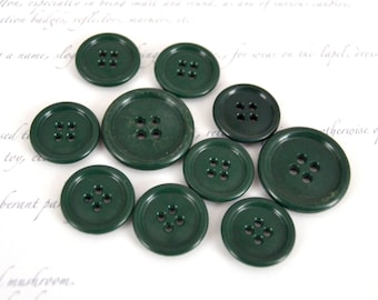 Forest Green Vintage Plastic Buttons - Dark Green Buttons