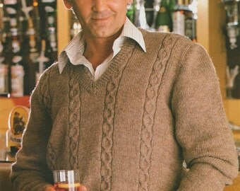 Mens Cable Pullover and Sweater PDF Knitting Pattern . Mans 34, 36, 38, 40 and 42, 44 inch chest . Slipover . Jumper . DK . Digital Download